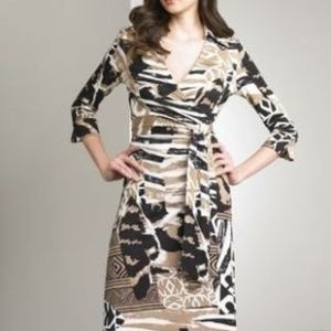 NWT DVF Justin Silk Wrap Dress Natural Patch